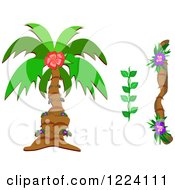Clipart Of A Tropical Palm Tree Vine And Branch Royalty Free Vector Illustration by bpearth