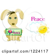Clipart Of A Peace Dog And Sun Royalty Free Vector Illustration by bpearth