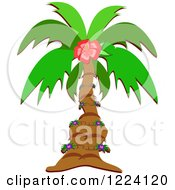 Clipart Of A Tropical Palm Tree And Floral Vine Royalty Free Vector Illustration by bpearth