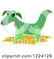 Clipart Of A Happy Green Dragon Royalty Free Vector Illustration by bpearth