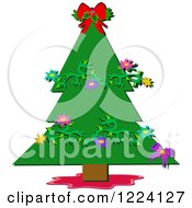 Christmas Tree Decorated With Floral Vines