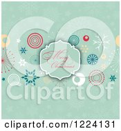 Clipart Of A Merry Christmas Greeting Frame Over Retro Designs And Greens Snowflakes Royalty Free Vector Illustration