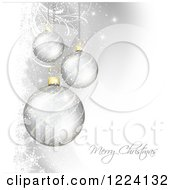 Clipart Of A Merry Christmas Greeting Under A Silver Baubles Sparkles And Foliage Royalty Free Vector Illustration