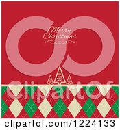 Merry Christmas Greeting On Red Over Retro Trees And Argyle