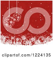 Clipart Of A Christmas Background Of Babubles And Snowflakes In Red And White Royalty Free Vector Illustration
