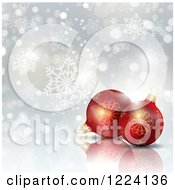 Clipart Of 3d Red Christmas Baubles Over Bokeh And Snowflakes Royalty Free Vector Illustration