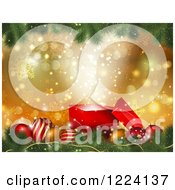Clipart Of A 3d Magic Gift Box With Christmas Baubles Over Gold Bokeh And Snowflakes Royalty Free Vector Illustration