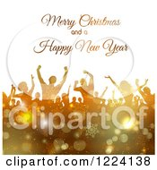 Clipart Of A Merry Christmas And A Happy New Year Greeting Over Dancers In Golden Snowflakes Royalty Free Vector Illustration