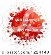 Clipart Of A Merry Christmas And A Happy New Year Greeting On A Red Snowflake Globe Royalty Free Vector Illustration