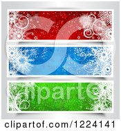 Clipart Of Red Blue And Green Christmas Website Banners With Snowflakes Royalty Free Vector Illustration