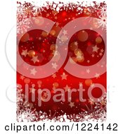 Clipart Of A Red Christmas Background Of Snowflakes Bokeh And Stars Royalty Free Vector Illustration