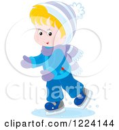 Clipart Of A Blond Winter Boy Ice Skating Royalty Free Vector Illustration
