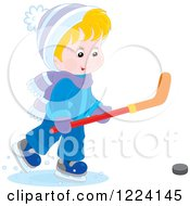 Clipart Of A Blond Winter Boy Playing Ice Hockey Royalty Free Vector Illustration
