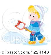 Clipart Of A Blond Winter Boy Shoveling Snow Royalty Free Vector Illustration
