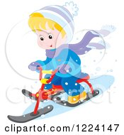 Clipart Of A Blond Winter Boy On A Sled Bike Royalty Free Vector Illustration by Alex Bannykh