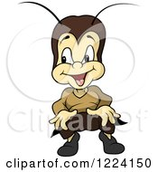Clipart Of A Happy Cartoon Cricket Royalty Free Vector Illustration