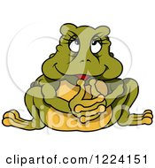Thinking Cartoon Frog
