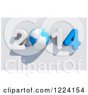 Clipart Of A 3d Blue And White Year 2014 With A Globe As The Zero Royalty Free Illustration by chrisroll