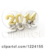 Clipart Of A 3d Golden Year 2014 On Top Of A Silver 2013 Royalty Free Illustration by chrisroll