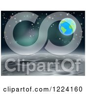 Clipart Of A Moon Landscape With Earth And Stars In The Background Royalty Free Vector Illustration