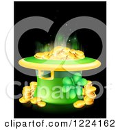 Clipart Of A St Patricks Day Leprechaun Hat With Shining Gold Coins And A Shamrock On Black Royalty Free Vector Illustration by AtStockIllustration