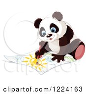 Clipart Of A Cute Panda Painting A Landscape Royalty Free Vector Illustration