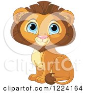 Clipart Of A Cute Sitting Male Lion With Big Blue Eyes Royalty Free Vector Illustration by Pushkin