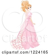 Clipart Of A Beautiful Blond Princess Looking Back And Wearing A Long Gown Royalty Free Vector Illustration