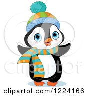 Cute Baby Penguin With A Winter Hat And Scarf