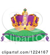 Clipart Of A Mardi Gras Crown On A Pillow Royalty Free Vector Illustration by Pushkin