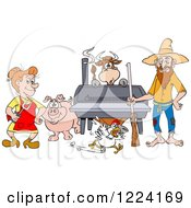 Clipart Of A Hillbilly Couple By A Bbq Smoker With A Cow Chicken And Pig Royalty Free Vector Illustration by LaffToon