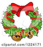Clipart Of A Holly Christmas Wreath With Bells And A Bow Royalty Free Vector Illustration by LaffToon