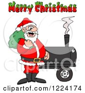 Clipart Of A Merry Christmas Greeting Over Santa By A Bbq Smoker Royalty Free Vector Illustration by LaffToon #COLLC1224174-0065