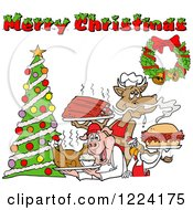 Clipart Of A Merry Christmas Greeting Over A Cow Holding Ribs Chicken Carrying A Pulled Pork Sandwich And Pig Carrying A Roasted Chicken Royalty Free Vector Illustration