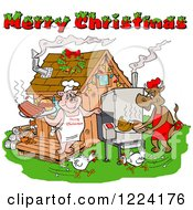Clipart Of A Merry Christmas Greeting Over Chickens A Cow And Pig Using A Smoker At A Bbq Shack Royalty Free Vector Illustration
