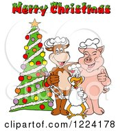 Clipart Of A Merry Christmas Greeting Over A Chef Cow Pig And Chicken By A Tree Royalty Free Vector Illustration by LaffToon