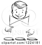 Clipart Of A Black And White Happy Retro Boy Performing A Three Coin Fooler Magic Trick Royalty Free Vector Illustration