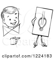 Clipart Of A Black And White Happy Retro Boy Performing A Button Trick Magic Trick Royalty Free Vector Illustration