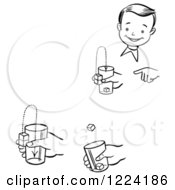Clipart Of A Black And White Happy Retro Boy Performing Steps Of A Jumping Cubes Magic Trick Royalty Free Vector Illustration