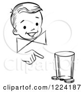 Clipart Of A Black And White Happy Retro Boy Performing A Moving Coin And Cup Magic Trick Royalty Free Vector Illustration