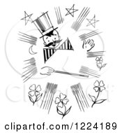 Clipart Of A Black And White Happy Retro Magician Boy With A Mustache And Wand Royalty Free Vector Illustration