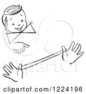 Clipart Of A Black And White Happy Retro Boy Watching A Loop The Loop Magic Trick Royalty Free Vector Illustration