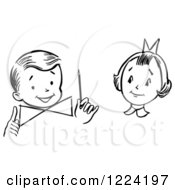 Clipart Of A Black And White Girl Watching A Boy Perform A Magic Dial Magic Trick Royalty Free Vector Illustration