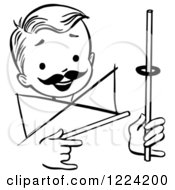 Clipart Of A Black And White Happy Retro Boy Performing A Rising Ring Magic Trick Royalty Free Vector Illustration