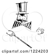 Clipart Of A Black And White Happy Retro Boy With A Mustache And Magic Wand Royalty Free Vector Illustration