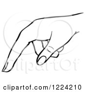 Clipart Of A Black And White Pointing Hand Royalty Free Vector Illustration