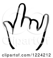Clipart Of A Black And White Shaka Hand Royalty Free Vector Illustration