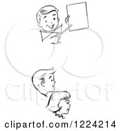 Clipart Of Black And White Retro Children Watching A Birthday Magic Trick Royalty Free Vector Illustration
