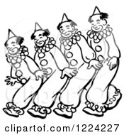 Clipart Of Black And White Clowns Walking Or Dancing Royalty Free Vector Illustration