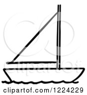 Clipart Of A Black And White Sailboat Royalty Free Vector Illustration by Picsburg
